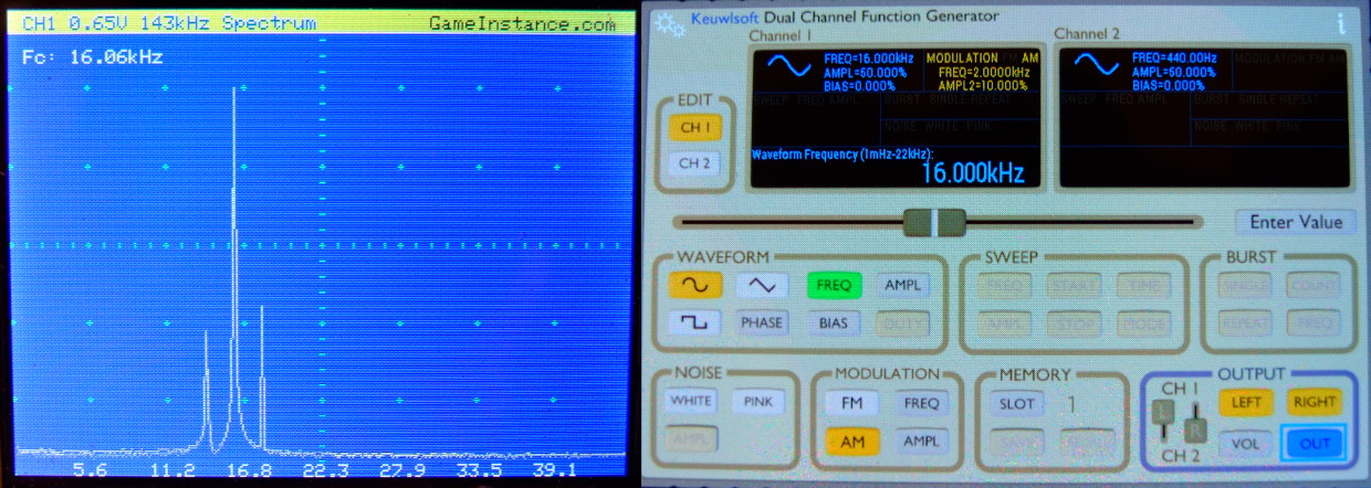 STM32 Oscilloscope - FFT spectrum representation for a test AM signal