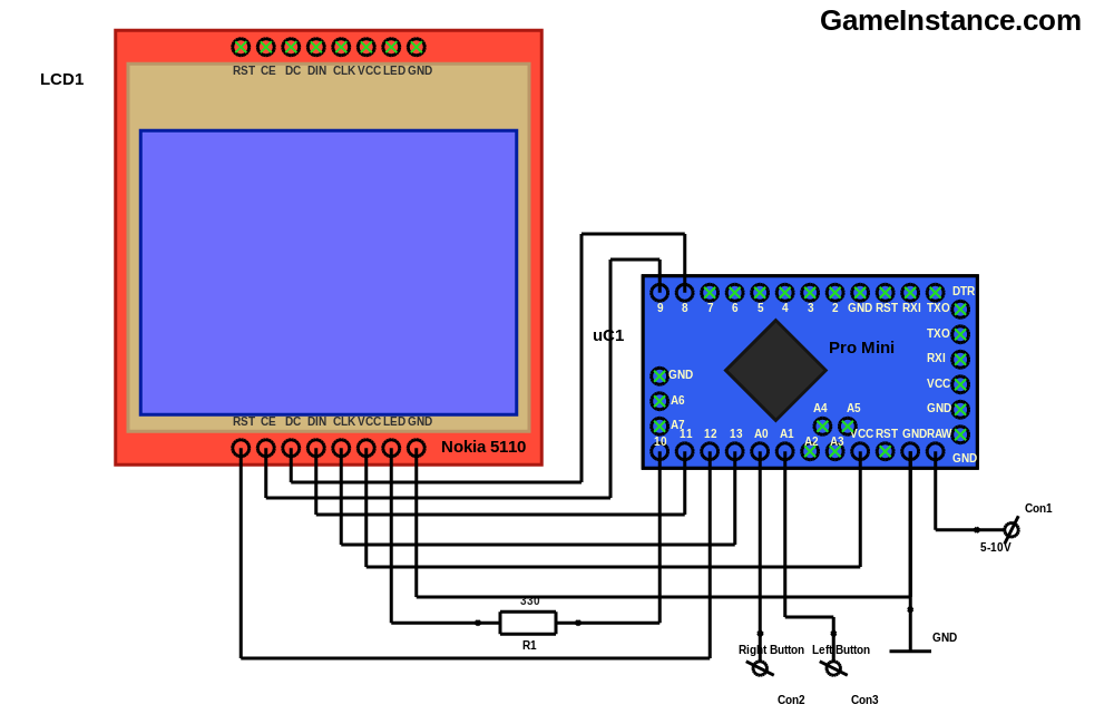 Arduino and Nokia 5110 LCD schematics for the Snake game