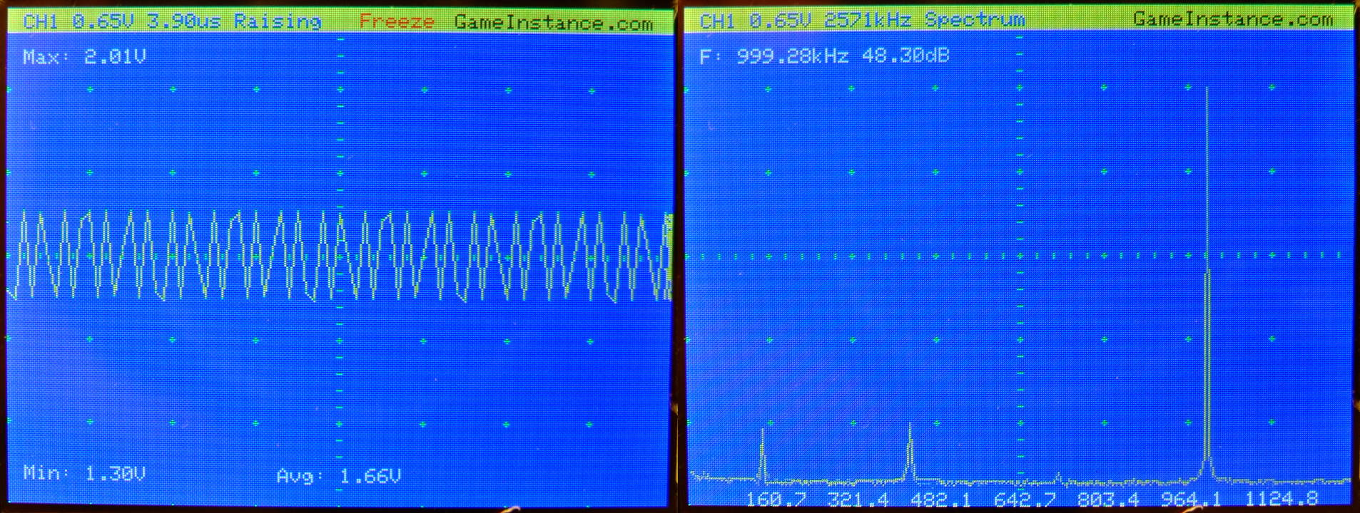 STM32 Oscilloscope - Representation of a 1 MHz square signal 50% duty cycle.