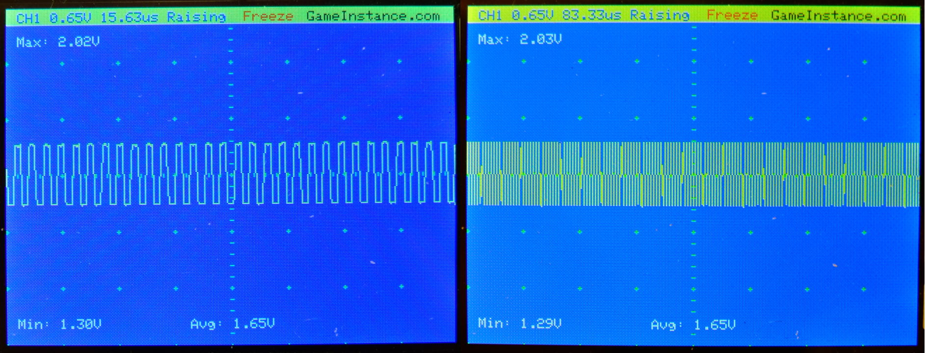 STM32 Oscilloscope - 250 kHz square signal 50% duty cycle. A 20 mV error was observed at different sampling rates. Left - sampled at 2.57 MSPS. Right - sampled at 529 kSPS.