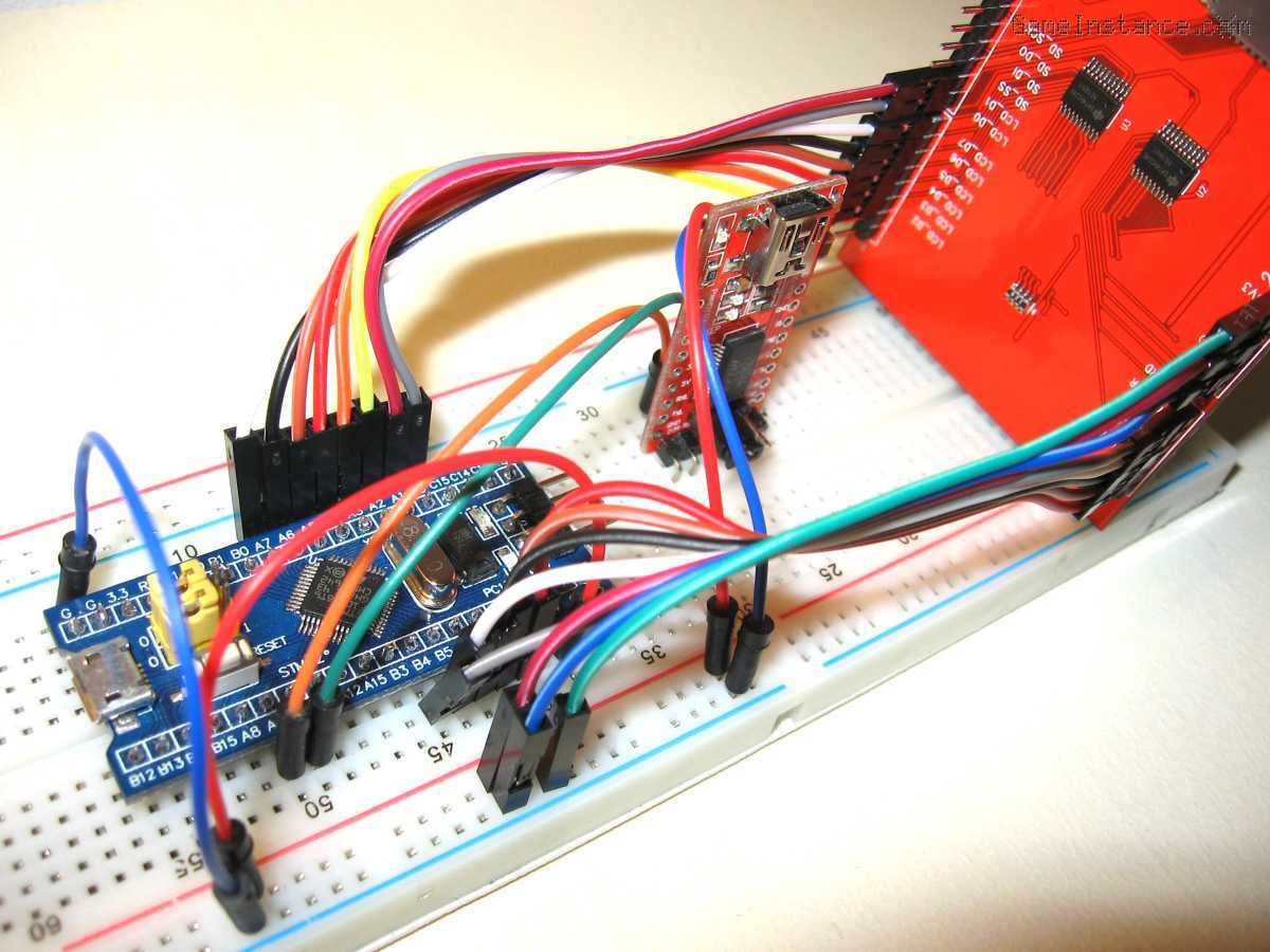 2.4inch 320x240 NT35702 LCD and the STM32F103C8 Blue Pill board - breadboard setup