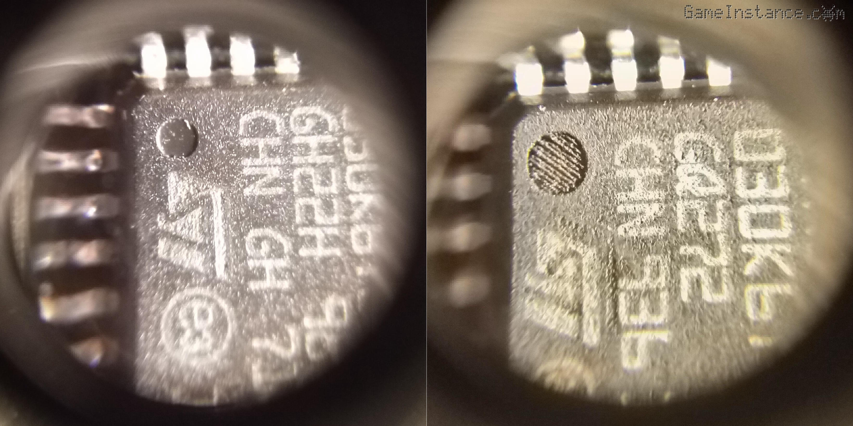 STM32F030K6T6 index dot - left: original, right: clone (bigger, with a dash pattern)