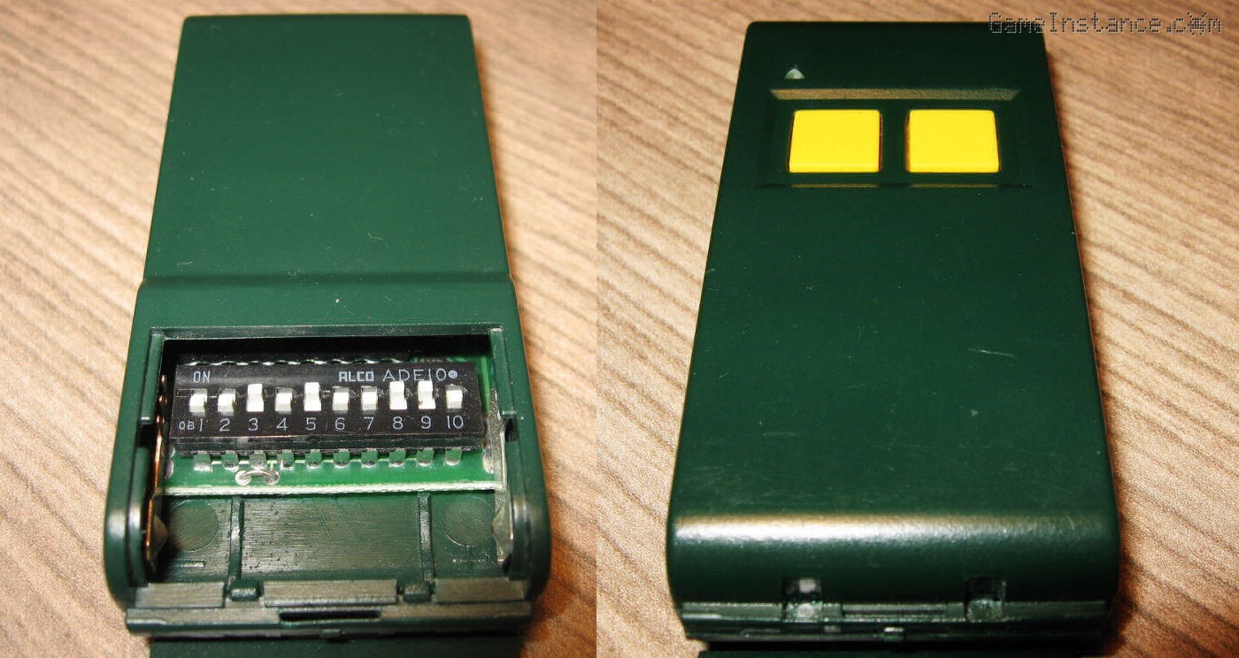 The MPS/TF2E remote control. Left - the lid covered 10 DIP switch key, right - the face of the remote.